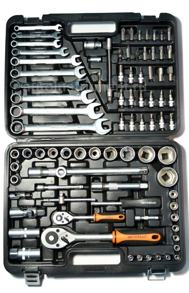 Наборы инструмента - ключ комби с трещоткой 8 - набор инструмента 88пр. 1/2DR 1/4DR АвтоDело (39883)