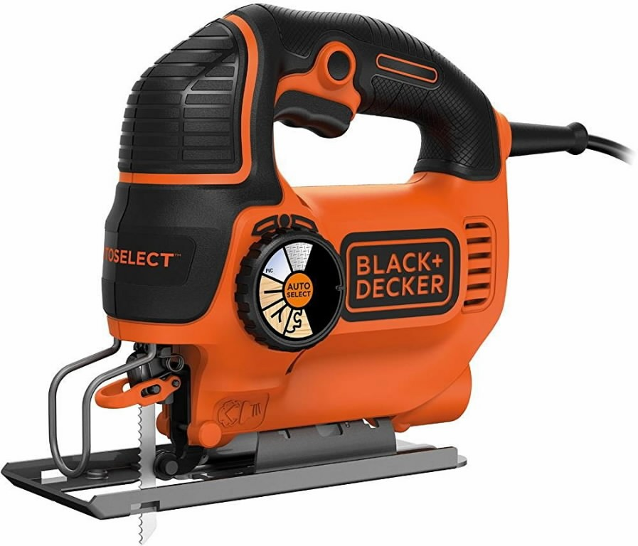 Black & Decker KS801SEK / 80 mm / 550W Jigsaw Power: 550 W Strokes: 1500 - 3000 /min Bevel cut: 0 / 22,5 / 45° Cutting depth: wood - 80 mm steel - 5 mm aluminium - 15 mm Stroke lenght: 19 mm