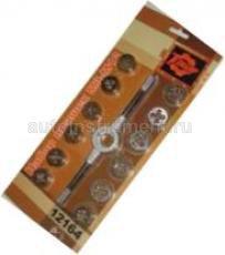 Лерки, плашки - набор инструмента чемодан - набор плашек с воротком М3-М12 (12шт/блистер) (ТЕХМАШ)