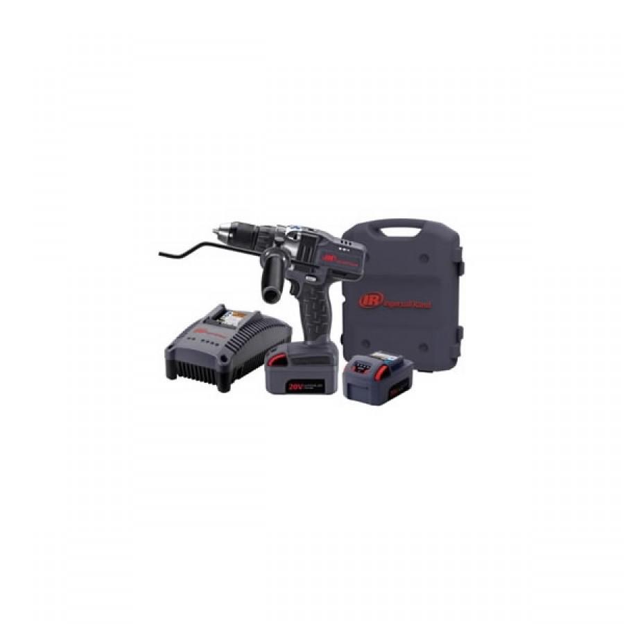 INGERSOLL-RAND D5140-K2-EU 20V Li-Ion 13mm Akumulatora urbjmašīna Patrona līdz 13mm, 2-pakāpju ātruma regulētājs, 0-500/1900 apgr/min, 16 pozīciju sajūgs. Garums: 245 mm Svars: 2,45 kg Komplektā: 2 x 20 V 3,0