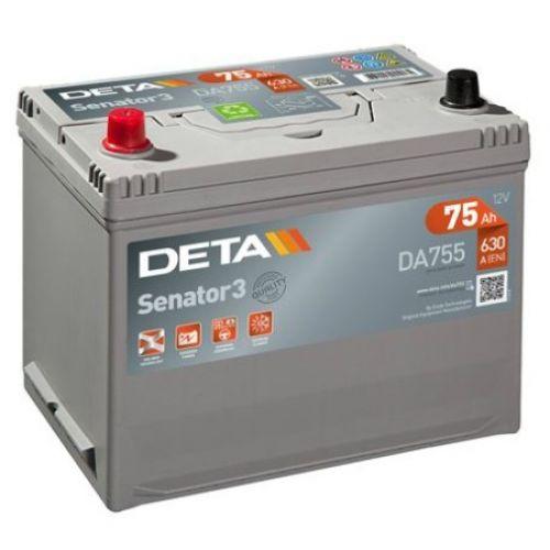 Аккумуляторы - Авто аккумулятор DETA SENATOR3 AK-DA755L 12V/75Ah/630A - щипцы для клемм skrab