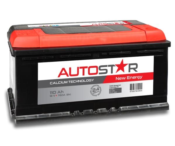 Akumulatori - Auto akumulators AUTO STAR AK-AP61002L 12V/110AhL/760A - latvians autos veikals