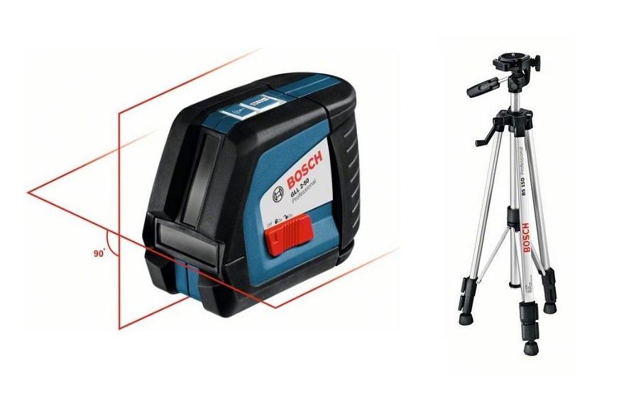 Уровни лазерные - Bosch GLL 2-50 + BS 150 Построитель плоскостей + Штатив