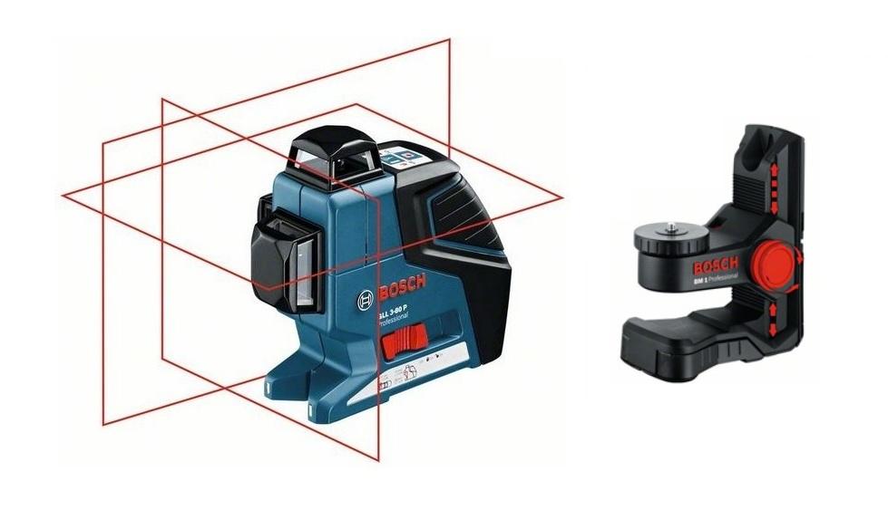 Уровни лазерные - Bosch GLL 3-80 P + BM1 Построитель плоскостей + Штатив
