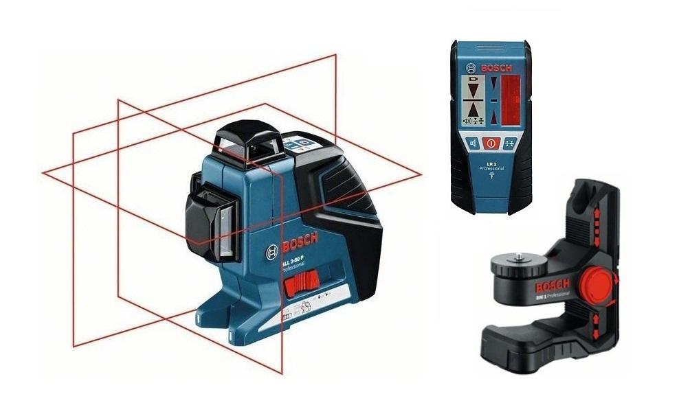 Уровни лазерные - Bosch GLL 3-80 P + BM1 + LR2 Построитель плоскостей + Штатив + Лазерный приёмник