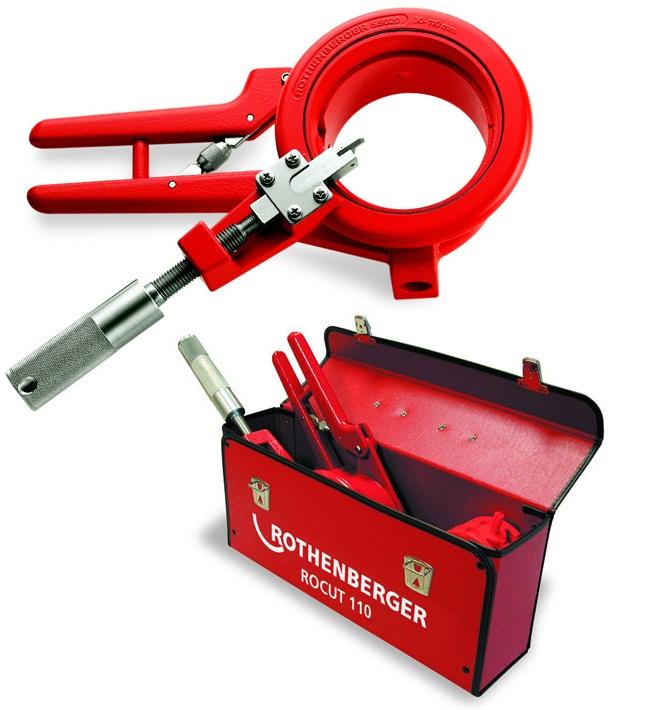 Ножницы для пластиковых труб - набор инструмента чемодан - Инструмент для резки и снятия фаски ROCUT 110, 50-110 мм