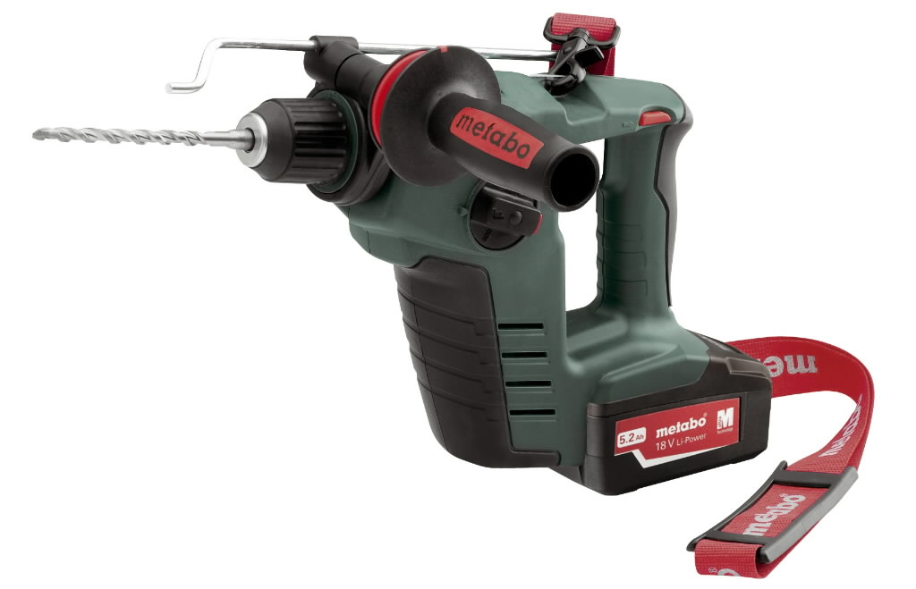 Metabo BHA 18 LTX 5,2Ah  cordless rotary hammer The new cordless rotary hammer Metabo BHA 18, the leading manufacturer of power tools Anti-vibration handle - absorbs vibrations up to 60% and